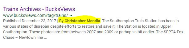 Google Listing showing the author of the post