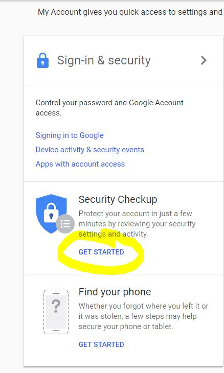 Run the Google Security Checkup as a quick check of your Google Account's security status