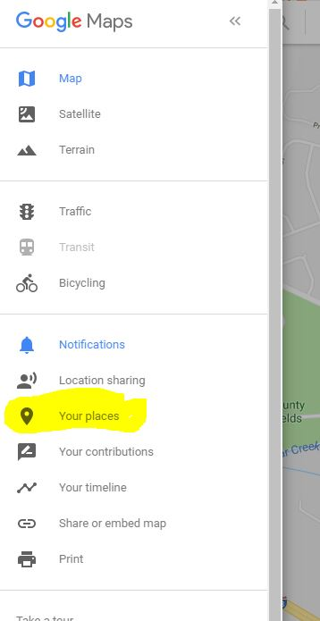Google Your Timeline and Places menu