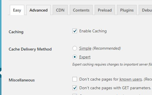 Set the cache delivery method to Expert for WP Super Cache