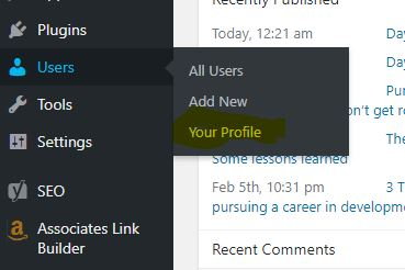 Accessing your user profile in WordPress