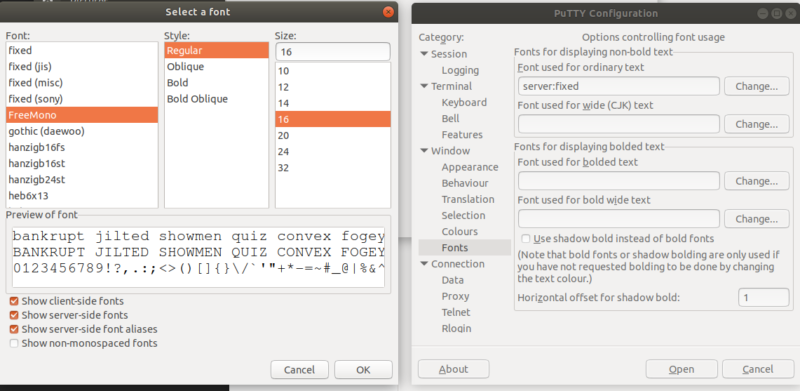 Putty Dialog for changing the font size.