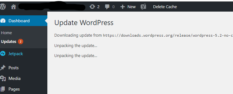 "Stuck on ""unpacking the update"" when trying to update to WordPress 5.2"