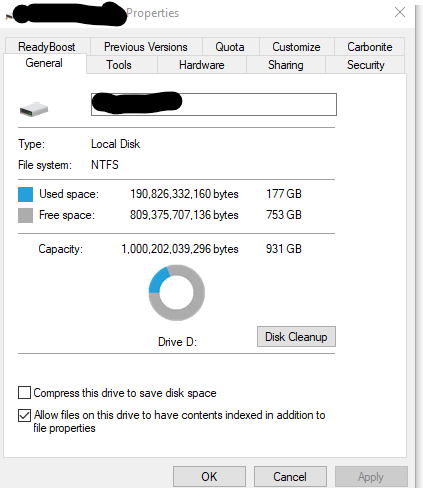 Disk space on my drive prior to running dupeGuru