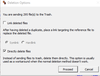 dupeGuru dialog allowing you to directly delete files instead of sending them to the recycle bin.