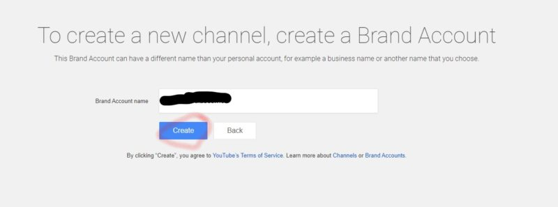 YouTube - Create a new channel