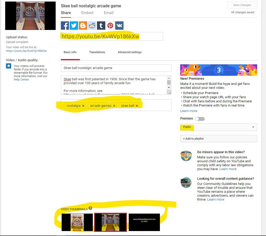 YouTube - Edit upload posting