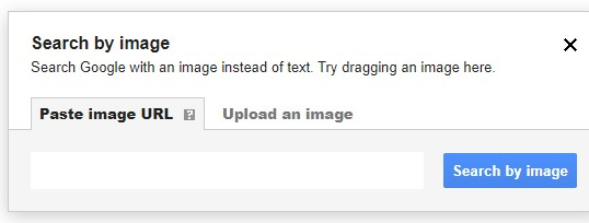 Google search by image dialog