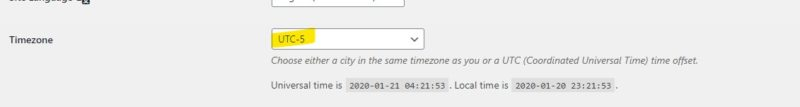WordPress timezone set correctly