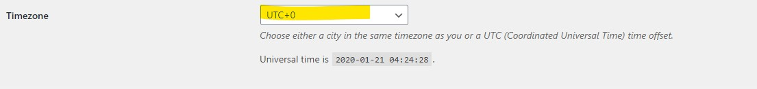 WordPress timezone incorrectly set to UTC-0
