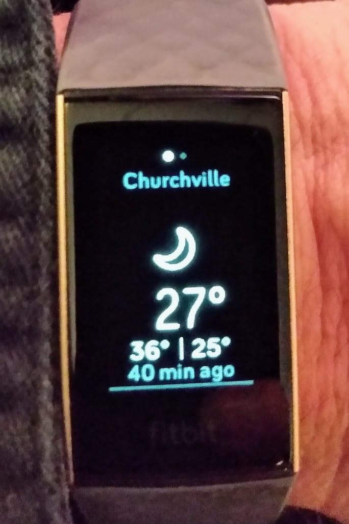 Fitbit Charge showing the weather app