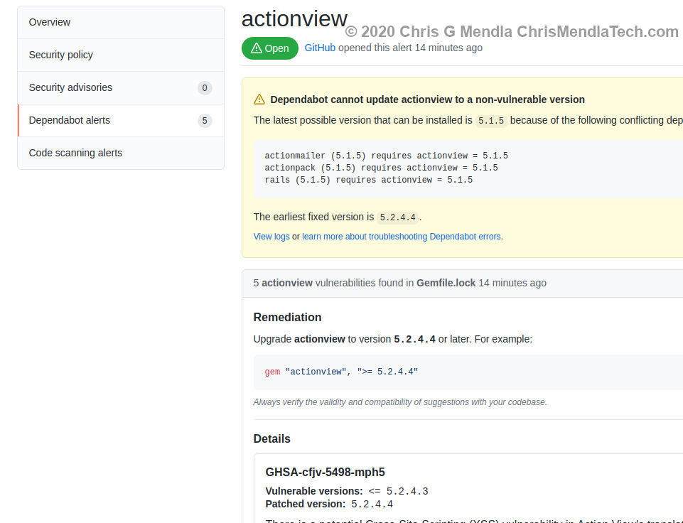 Details regarding a GitHub Dependabot vulnerability alert